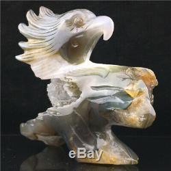 2.1LB Natural Geode Agate eagle skull quartz hand Carved crystal DK932-2