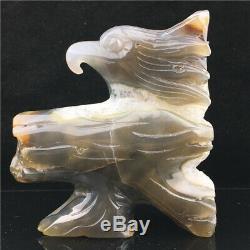 2.1LB Natural Geode Agate eagle skull quartz hand Carved crystal healing DK932