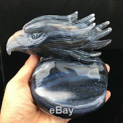 2.22LB Natural Geode Agate quartz eagle skull hand Carved crystal 5.1'' DK238