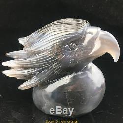 2.26LB Natural Geode Agate quartz eagle skull hand Carved crystal MK411