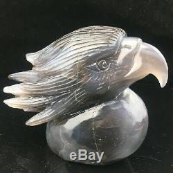 2.28LB Natural Agate geode point quartz eagle skull Hand Carved Crystal mk411