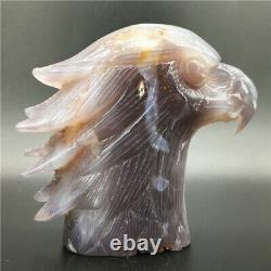 2.2LB Natural Geode Agate eagle skull quartz hand Carved crystal DK299