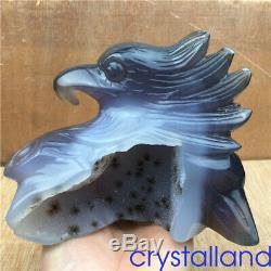 2.2LB Natural Geode Agate quartz eagle skull hand Carved crystal OK391-DAA