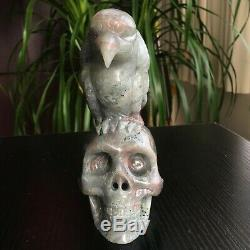 2.5LB Natural Purple Labradorite Crystal Skull with Eagle Hand Carved Healing
