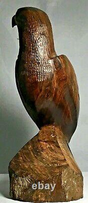 2 Hand Carved Ironwood Eagle Eaglet Statues Mid Century Modern Wood Birds Pair