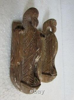 2 Pc Old Antique Wooden Wooden Hand Carved Bird Eagle Statue Wall Panel