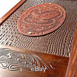20 Handcarved wooden BACKGAMMON board, GOLDEN EAGLE game, wood dices big bronze
