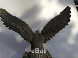 21'' bronze copper carved two hand handshake eagle hawk statue