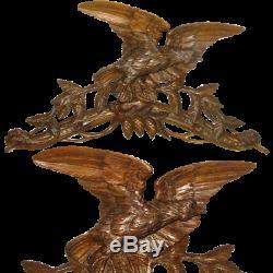 26 Antique Black Forest Hand Carved Wood Wall Mount Crop Hook Hat Rack, Eagle