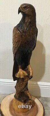 27 1/2 in Eagle, Hand -Carved Wood, Home decor Piece