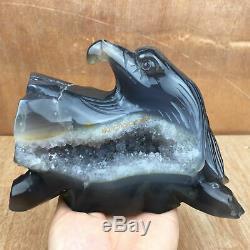 3.01LB Natural Geode Agate quartz eagle skull hand Carved crystal OK390-DAA-2