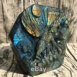 3.19LB Natural Labradorite eagle Hand Carved Crystal Skull Reiki Healing HOK237