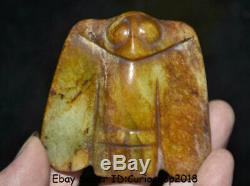 3 Chinese Hong Shan Culture Old Jade Hand Carved Eagle Owl Birds Gua Jian