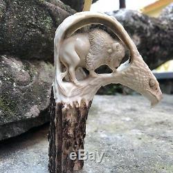 3-D Bison Inside American Eagle Hand Carved Antler Horn Bone Cane Handle USA