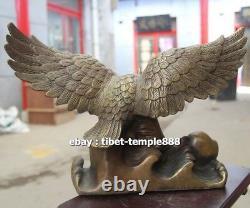 32 CM Chinese Art Deco Bronze Wing Lanneret Hawk Eagle Art ornament Sculpture