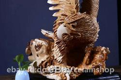 35.8 Chinese Taihang Red Cedar WoodCarving Bird Eagle Hawk Unique Wealth Statue
