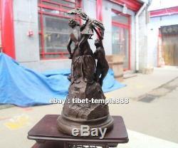 35 CM Western Art Deco Bronze Greek mythology eagle peck Prometheus Sculpture