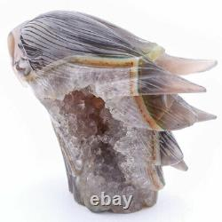 4.6 High Natural Geode Agate Crystal Hand Carved Eagle skull, Realistic Healing