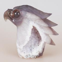 4.7 1.6LB Natural Geode Agate Quartz Crystal Hand Carved Eagle Head Home Decor