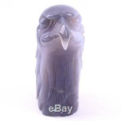 4.8 in Natural Geode Agate quartz Eagle skull hand Carved crystal, Reiki Healing