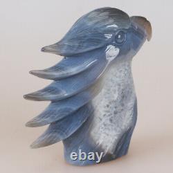 4.9 Natural Geode Agate Quartz Crystal Hand Carved Eagle Head Animal 661g