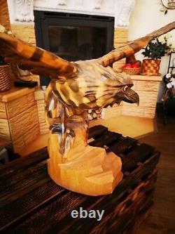 40 Exclusiv! Vintage big beautiful Hand Carved Wood Eagle Figure Statue USSR