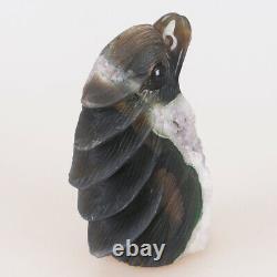 5.1 Natural Geode Agate Quartz Crystal Hand Carved Eagle Head Animal 798g