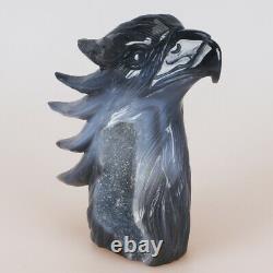 5.3 Natural Geode Agate Quartz Crystal Hand Carved Eagle Head Animal 773g