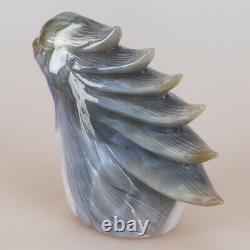 5.5 Natural Geode Agate Quartz Crystal Hand Carved Eagle Head Animal 795g