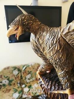 50 Exclusiv! Vintage big beautiful Hand Carved Wood Eagle Figure Statue USSR