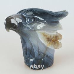 6.3 3LB Natural Geode Agate Quartz Crystal Hand Carved Eagle Head Carving