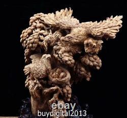 62 CM Indonesia Agarwood Chinese eagle hawk Incubation cub auspicious sculpture