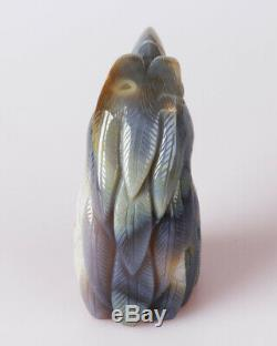 666g Natural Geode Agate Quartz Crystal Hand Carved Eagle Skull Carving 0092