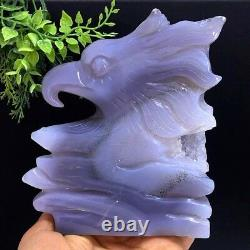 765g Rare Polished Agate Geode Vug Eagle Head Hand Carved Quartz Crystal+Stand