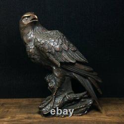 8.5 Old Antique Chinese bronze handcarved eagle Incense burner Statue
