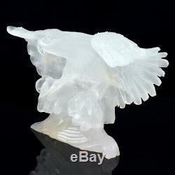 8 in Natural Quartz Rock Hand Carved Crystal Eagle Sculpture, Cristal Guérison