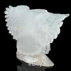 8 in Natural Quartz Rock hand Carved crystal Eagle sculpture, Crystal Healing