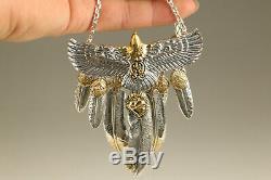 80g 100% 925 silver eagle feather netsuke pendant