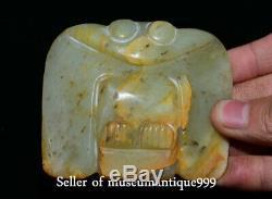 8CM Good Hong shan Culture Old Jade Hand Carved Bird Eagle Owl Amulet Pendant