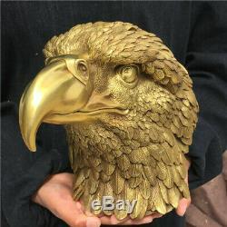 9.9LB Hand-carved eagle skull head Furnishing articles ornaments OT1948