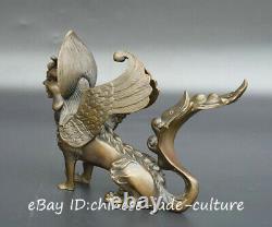 9 Chinese Myth Fengshui Bronze Wing Eagle Head Zodiac Dragon Beast Lion Statue