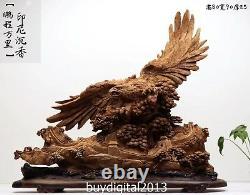 90 CM Indonesia Agarwood Chinese tiercel eagle hawk Great Wall Pine Tree Statue