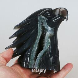 946g 4.8 Natural Geode Agate Quartz Crystal Hand Carved Eagle Head Carving