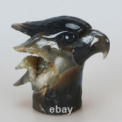 971g 5.4 Natural Geode Agate Quartz Crystal Hand Carved Eagle Head Carving