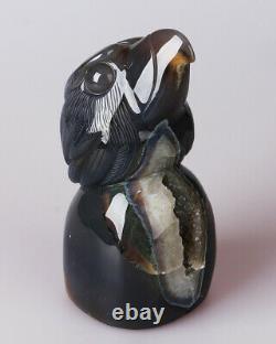 978g Natural Geode Agate Quartz Crystal Hand Carved Eagle Skull Carving 0085