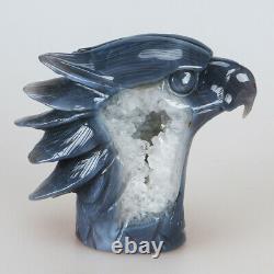 993g 5.3 Natural Geode Agate Quartz Crystal Hand Carved Eagle Head Carving