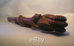A Hand Carved Wood Bamboo Parasol Handle Snake Eagles Claw Z23