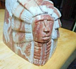 Alabaster Hand Carved Stone Sculpture, Eagle & Native American Indian Chief