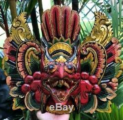 Amazing Bali Mask Wall Face Garuda Eagle Face Bird King God Wood Hand Carved Art