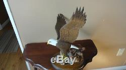 American Eagle Hand Carved And Painted On Oval Base With Petrified Wood & Rocks